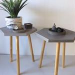 BDLF0002 Concrete Hex Bedside/Side Table
