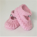 Hand Knit 0-3m Baby, Wool, Mary-Jane Style Shoes, Pink