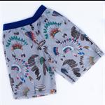 Boys or girls shorts, size 4, Indian chieftain fabric, grey, elastic waist