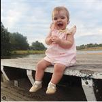 BabyGirls Toddler seaside dress, with metalic gold
