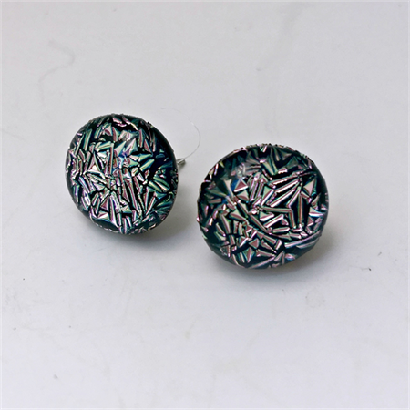 Burst of Colour Pink/Green Crackle Dichroic Fused Glass Earrings