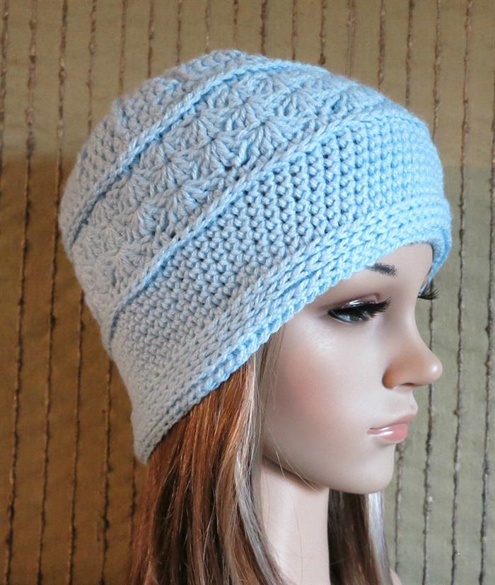 Crochet Hat, Womens Men Hat, Wool Beanie, Cable Pattern Skull Cap ...