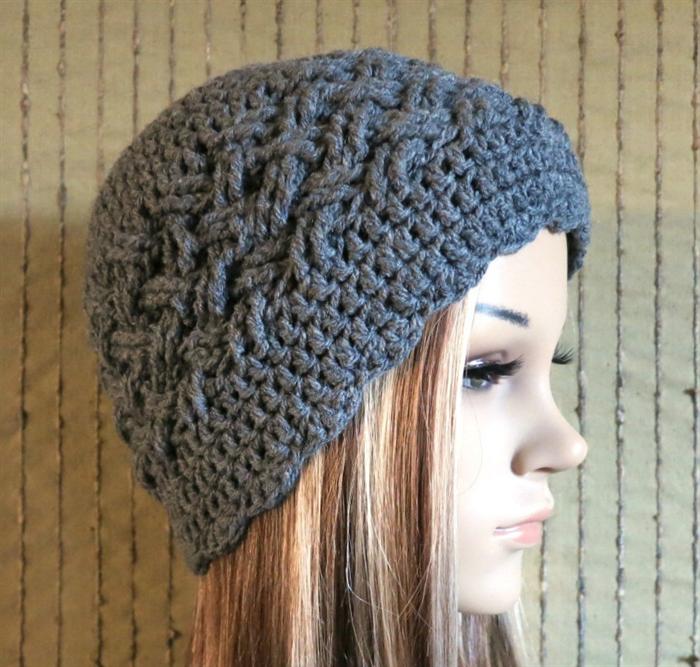 Crochet Hat Womens Men Hat Wool Beanie Cable Pattern Skull Cap