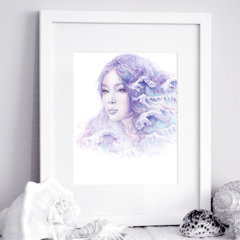 11x14 inch SIGNED She Calls The Sea Mermaid Art Print Pencil Drawing