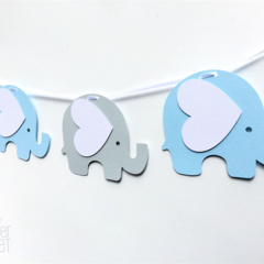 Blue & Light Grey Elephant Garland. Party Banner, Baby shower, first birthday.