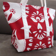 Red and white Tote