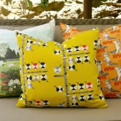 cushion.  Charley Harper bird print in mustard.  Size 22