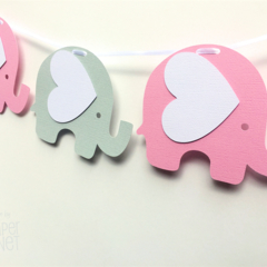 Pink & Light Grey Elephant Garland. Party Banner, Baby shower, first birthday.