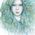From The Sea Dreamy Mermaid Art Drawing Print Pastel Pencil 8x10