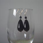 Classic Black Tear Drop Murano Glass Earrings