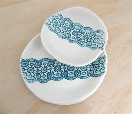 Ceramic nesting bowls in green & white. Ring dish, jewellery bowl, soap dish.