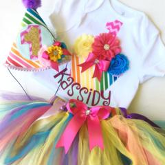 Rainbow Themed First Birthday Girl Onesie, Tutu & Party Hat