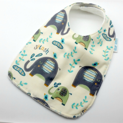 Baby Dribble Bib, Elephant Cotton Fabric, Bamboo Toweling, Snap Fastened.