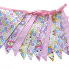 Hoot Owls Pink Flag Bunting for Girls. Owl Wall hanging, Party, Decoration