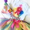 Rainbow Themed First Birthday Girl Onesie, Tutu & Party Hat