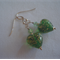 Emerald & Gold Murano Glass Heart Earrings
