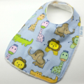 Baby Bib Zoo Animals on Cotton Fabric, Bamboo Toweling, Snap Fastened.