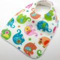 Infant Dribble Bib-Elephants on Cotton Fabric, Bamboo Toweling, Snap Fastened.