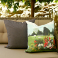 'Dog in the Park' print cushion.  Size 22