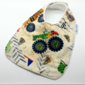 Baby Dribble Bib Monster Trucks on Cotton Fabric, Bamboo Toweling Snap Fastened.