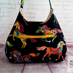 Hobo Bag, Shoulder Bag, Handbag, Horses, Cotton Bag, Black Bag
