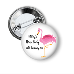 Pink Flamingo Hens party badges - add your text.