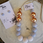 Marbleous Jewellery Set - White/Marble/RoseGold