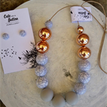 Marbleous Jewellery Set - Pale Grey/Marble/RoseGold