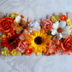 Picket Fence Decorative with Fabric Dragonfly - Autumn /Fall - Mulberry Flowers