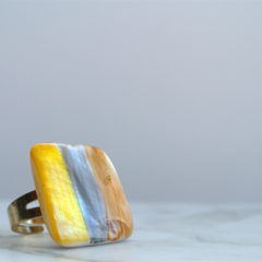 Yellow, Orange and Grey Striped Ring