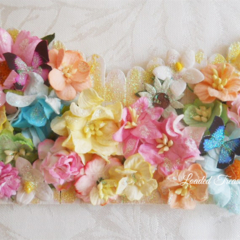 Picket Fence Decorative with Bluebird- butterflies & Glitter - Pastel Colors