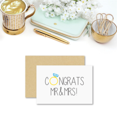 Wedding Card Congratulations - Congrats Mr & Mrs - WED041