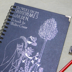 Flowers from Shakespeare's Garden notebook - Notebook made from an upcycled book