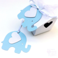 Blue & White Elephant baby shower gift tags. Baby boy, first birthday party.
