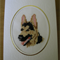 German Shepherd Dog Card - Completed Cross Stitch