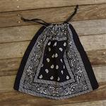 Bandana / Paisley Drawstring Bag - Black