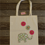 Library Bag/Tote Bag Calico - Green Floral Elephant Embellishment