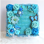Mini Album Cover Topper BUTTERFLY BLUE Flower Front Cover 7 x 7""