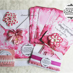 LOADED ENVELOPE KIT Pink - Handmade Wedding Pink Tags/Pins & Embellishments