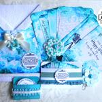 LOADED ENVELOPE KIT Blue - Handmade Wedding Blue Tags/Pins & Embellishments
