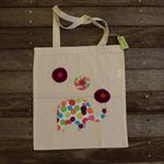 Library Bag/Tote Bag Calico - Spot Elephant Embellishment