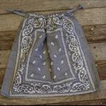 Bandana / Paisley Drawstring Bag - Grey