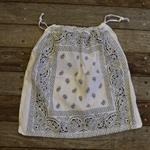 Bandana / Paisley Drawstring Bag - White