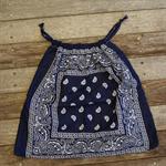 Bandana / Paisley Drawstring Bag - Navy Blue