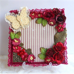 Mini Album Cover Topper RED VALENTINE Flower Front Cover 7 x 7""