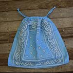 Bandana / Paisley Drawstring Bag - Light Blue