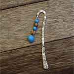 12cm Metal Bookmark - antique bronze and blue beads