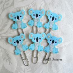 Koala Blue Planner Clip Set of 6 -Journal Clips-  Planner Clips
