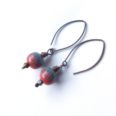 Ball terracotta orange and blue hand painted dangle earrings