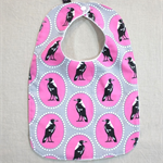 baby bib - pink magpies / organic cotton and hemp fleece